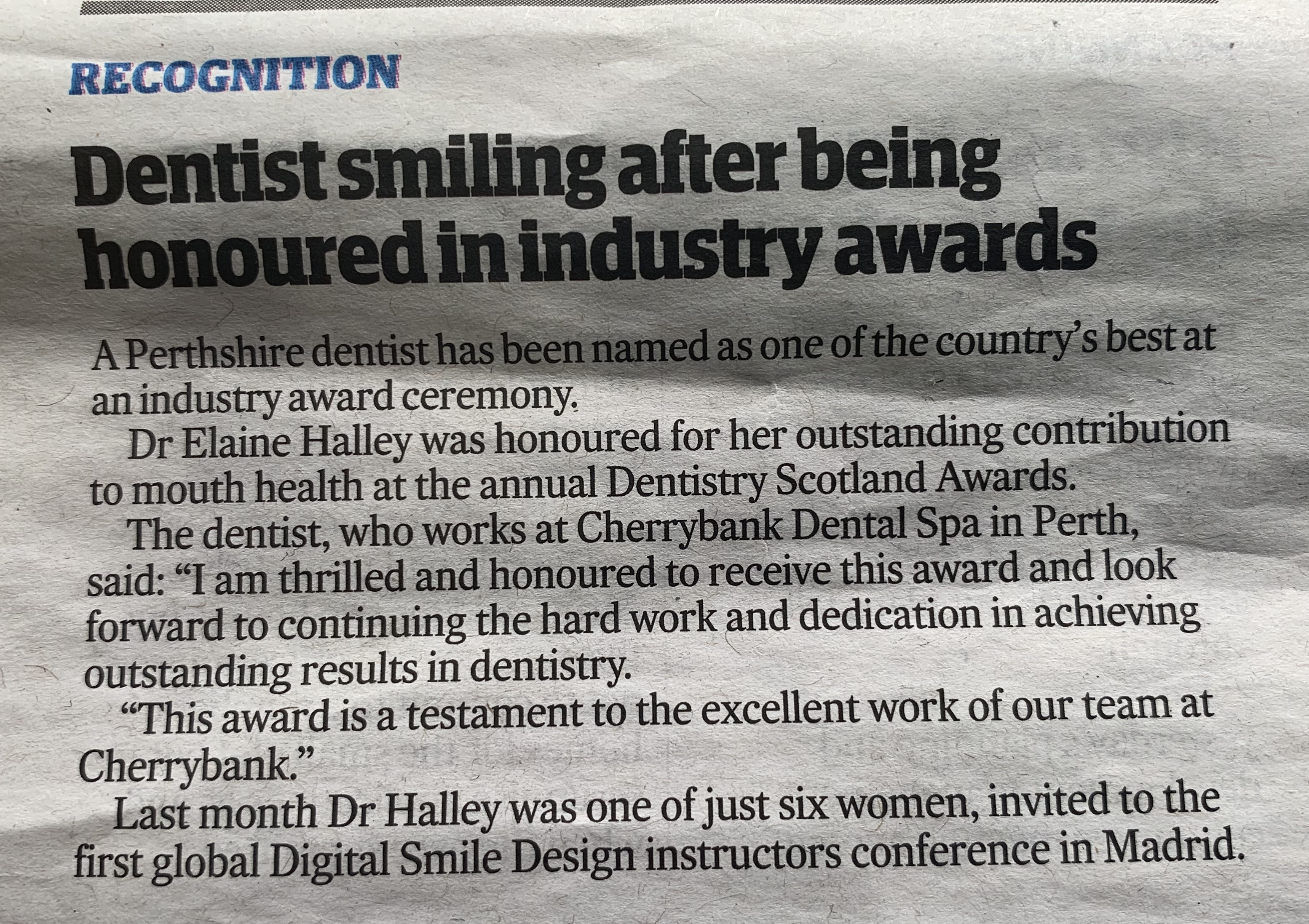 Dr Elaine Halley Wins Outstanding Contribution to Dentistry 2018 – at the Dentistry Scotland Awards